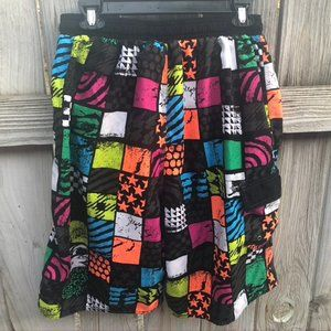 Board Shorts Swim Trunks M Burnside Neon Checkered